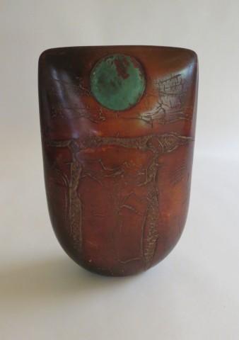 Peter Hayes Raku Red Totem Sculpture