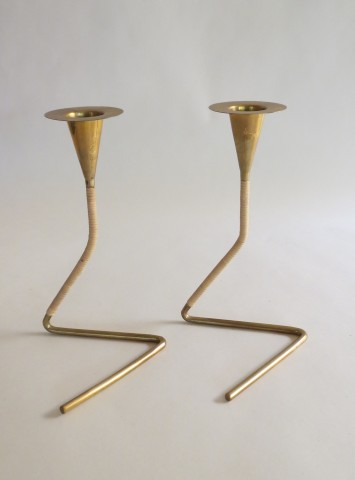 Pair of Brass and rattan candlesticks by Carl Aubock