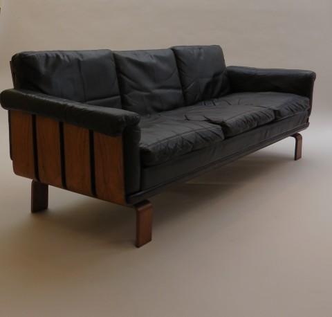 Scandinavian Rosewood Leather Sofa