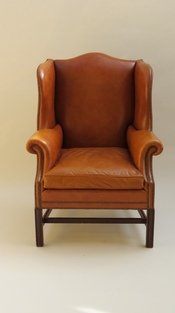 Danish Leather Wing Chair