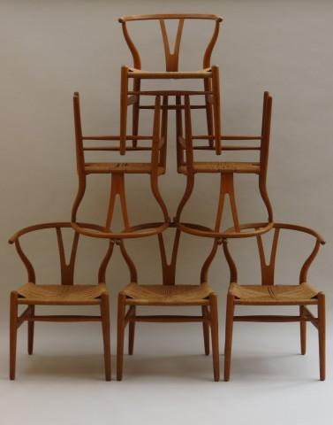 Hans J Wegner Wishbone Chairs, set of 6