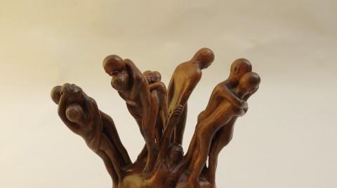 1971 Reunion Sculpture in Lime Wood by Thomas de la Berthauche