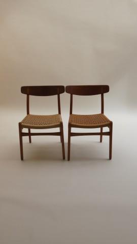 Pair of Hans J Wegner Dining Chairs Model CH23