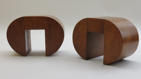 Pair of Bespoke Side Tables in Solid Afromosia