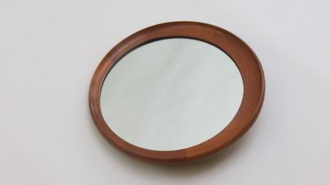 Danish Teak Round Wall Mirror