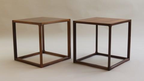 Pair of Rosewood Qube Tables by Aksel Kjersgaard