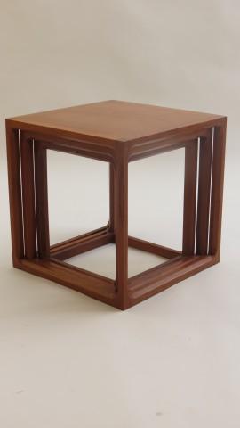 Nest of Teak Qube tables by Aksel Kjersgaard