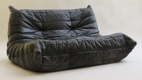 Original 1970s Ligne Roset Leather Sofa Togo Range