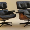Pair of 1970s Eames Loungers and Ottoman by Mobilier International image 3