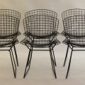 Set of 6 black side chairs by Harry Bertoia image 1