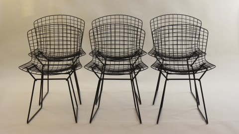 Set of 6 black side chairs by Harry Bertoia