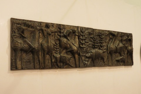 Scandinavian Sculptural Bronze Effect Wall Art  1960s