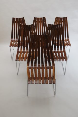 Hans Brattrud Skandia Rosewood Dining Chairs by Hove Mobler Norway