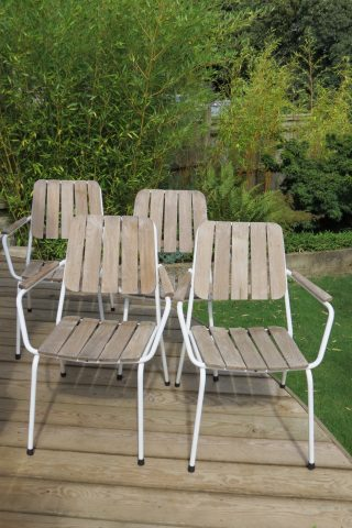 Set of 4 vintage Danish Garden Garden chairs by Daneline
