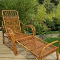 1920s Cane and Rattan Reclining Chair and Footstool image 4