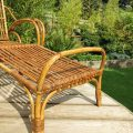 1920s Cane and Rattan Reclining Chair and Footstool image 5