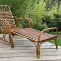 1920s Cane and Rattan Reclining Chair and Footstool image 1
