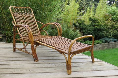 1920s Cane and Rattan Reclining Chair and Footstool