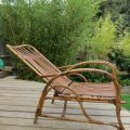 1920s Cane and Rattan Reclining Chair and Footstool image 3