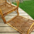 1920s Cane and Rattan Reclining Chair and Footstool image 6