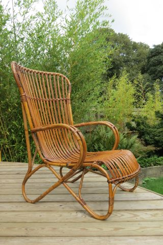 1920s Large Cane and rattan lounge chair