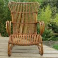 1920s Large Cane and rattan lounge chair image 2