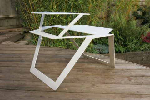 Modernist Industrial White Metal Garden Table 1990s