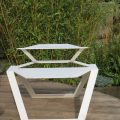 Modernist Industrial White Metal Garden Table 1990s image 3