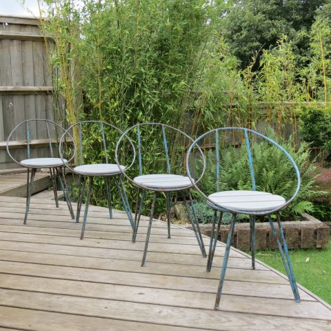 Set of 4 Blue Metal Garden Chairs from the 1950s