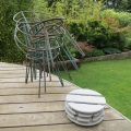 Set of 4 Blue Metal Garden Chairs from the 1950s image 6