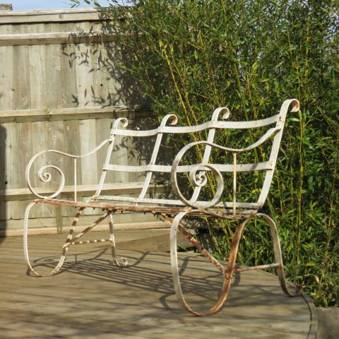 Regency Metal White painted Garden Bench 19th Century 1820s