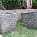 Large pair of 1970s Square Concrete Garden Planters image 1