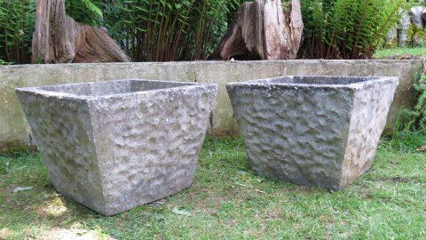 Large pair of 1970s Square Concrete Garden Planters
