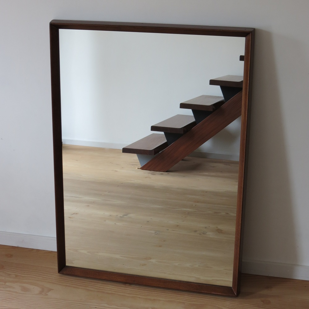 Very Large Danish Midcentury Teak Wall Hanging Mirror 1960s