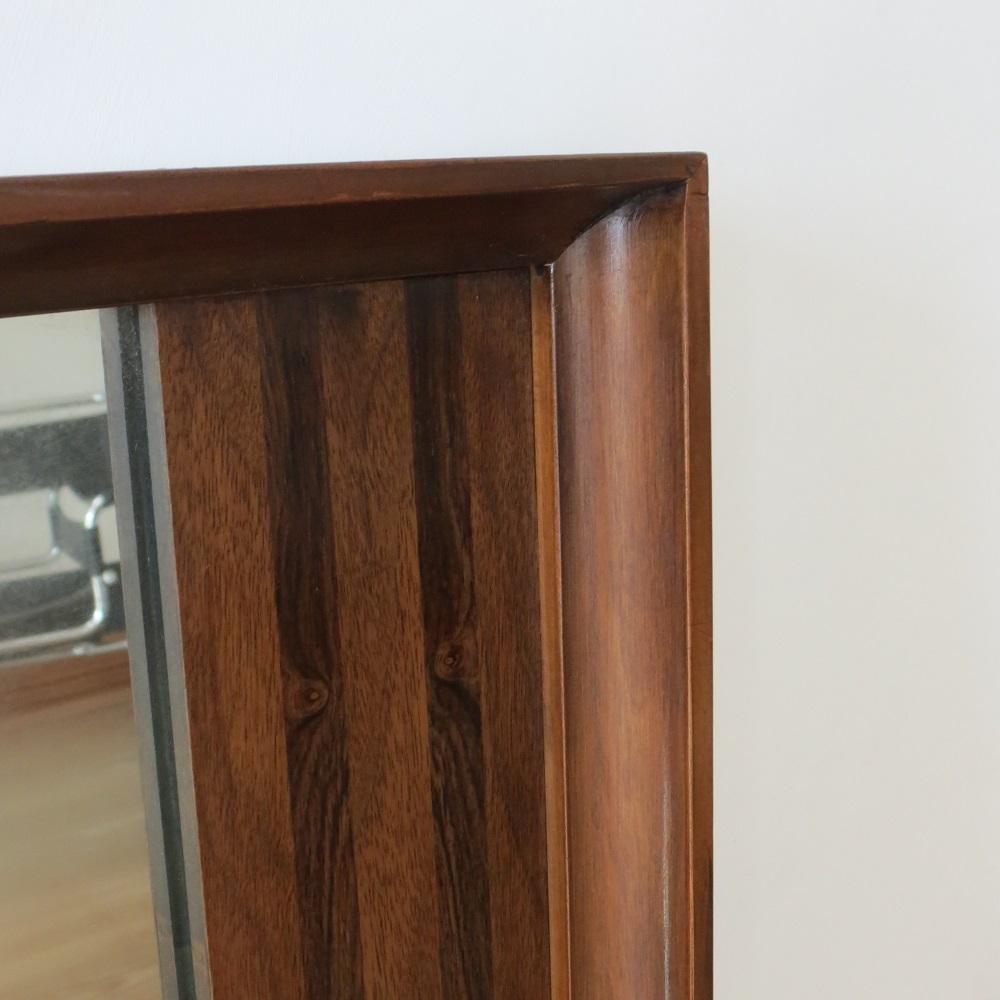 Very Large Danish Midcentury Teak And Rosewood Wall Hanging Mirror 1960s image 3