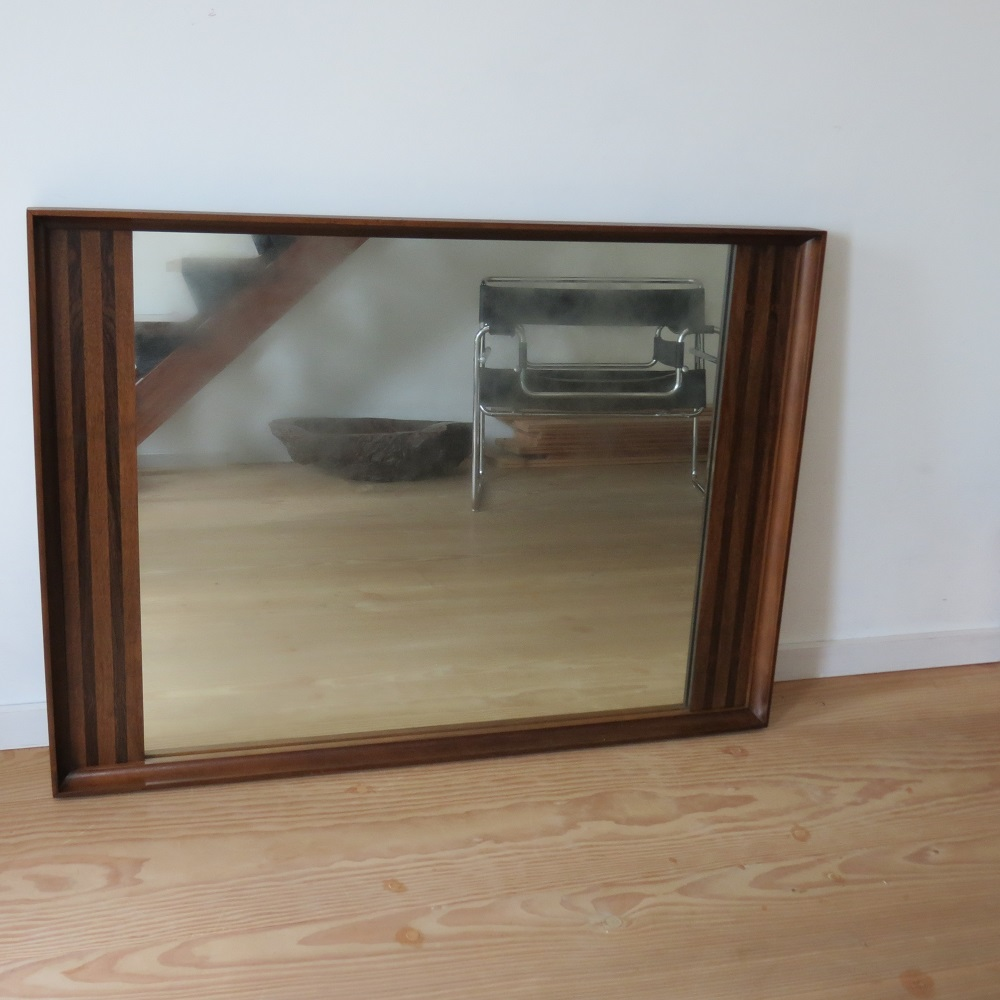 Very Large Danish Midcentury Teak And Rosewood Wall Hanging Mirror 1960s