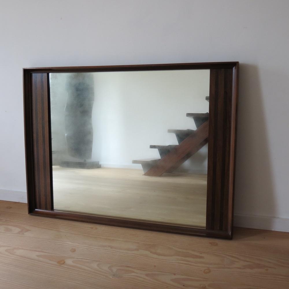 Very Large Danish Midcentury Teak And Rosewood Wall Hanging Mirror 1960s image 2