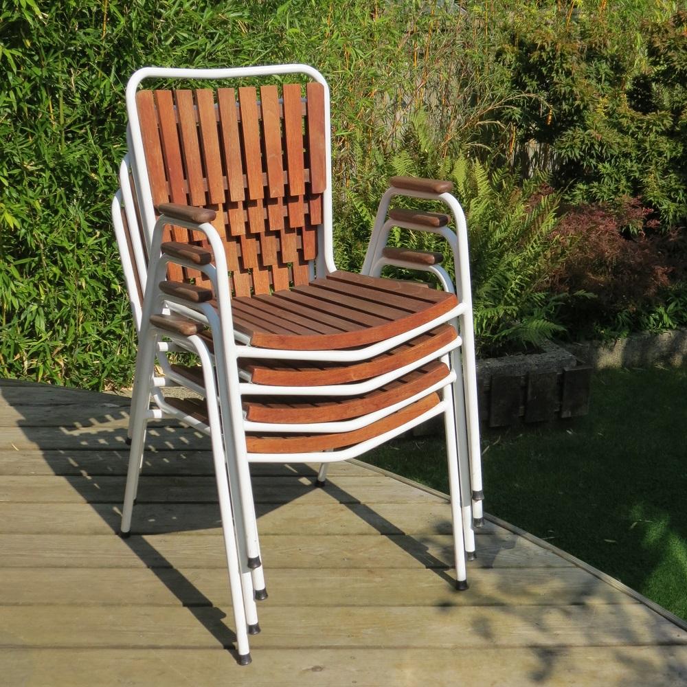 1960 Danish Daneline Garden Teak Table and Set of 4 Stackable Teak Garden Chairs image 2