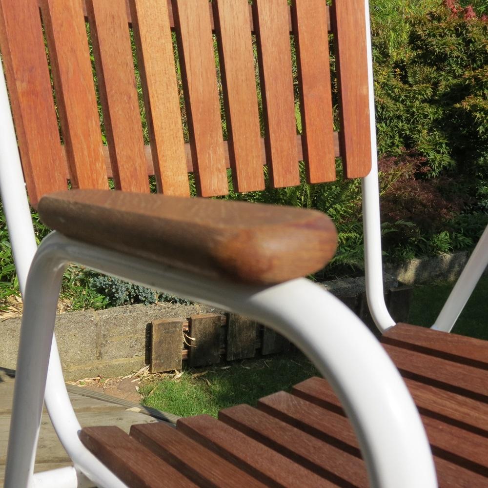 1960 Danish Daneline Garden Teak Table and Set of 4 Stackable Teak Garden Chairs image 5