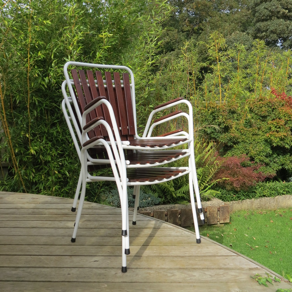 Midcentury Danish Folding Garden Table And 3 Chairs By Bks Denmark 1970s image 3