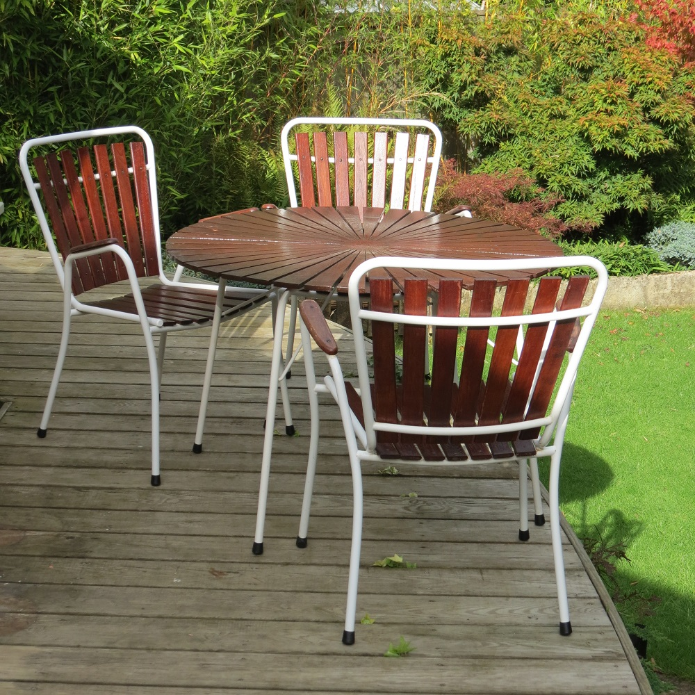 Midcentury Danish Folding Garden Table And 3 Chairs By Bks Denmark 1970s