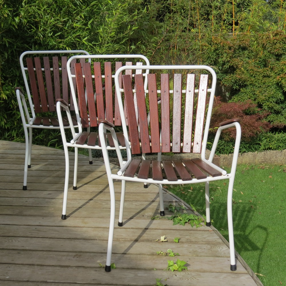 Midcentury Danish Folding Garden Table And 3 Chairs By Bks Denmark 1970s image 2