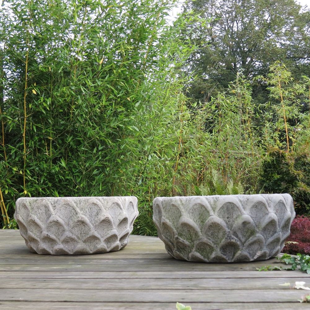 Pair of Cotstone Solid Concrete Decorative Garden Planters
